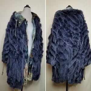NWT Blue Watercolor Reversible Fox Fur Coat